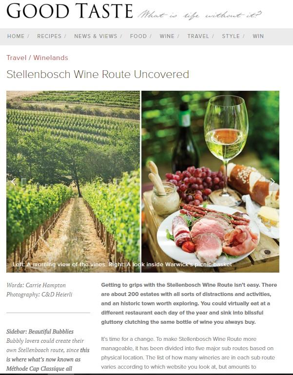Stellenbosch Wine Route online