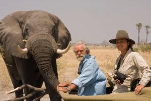 Dereck & Beverly Joubert with elephant