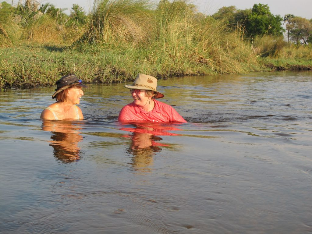 swimming in the Okavango