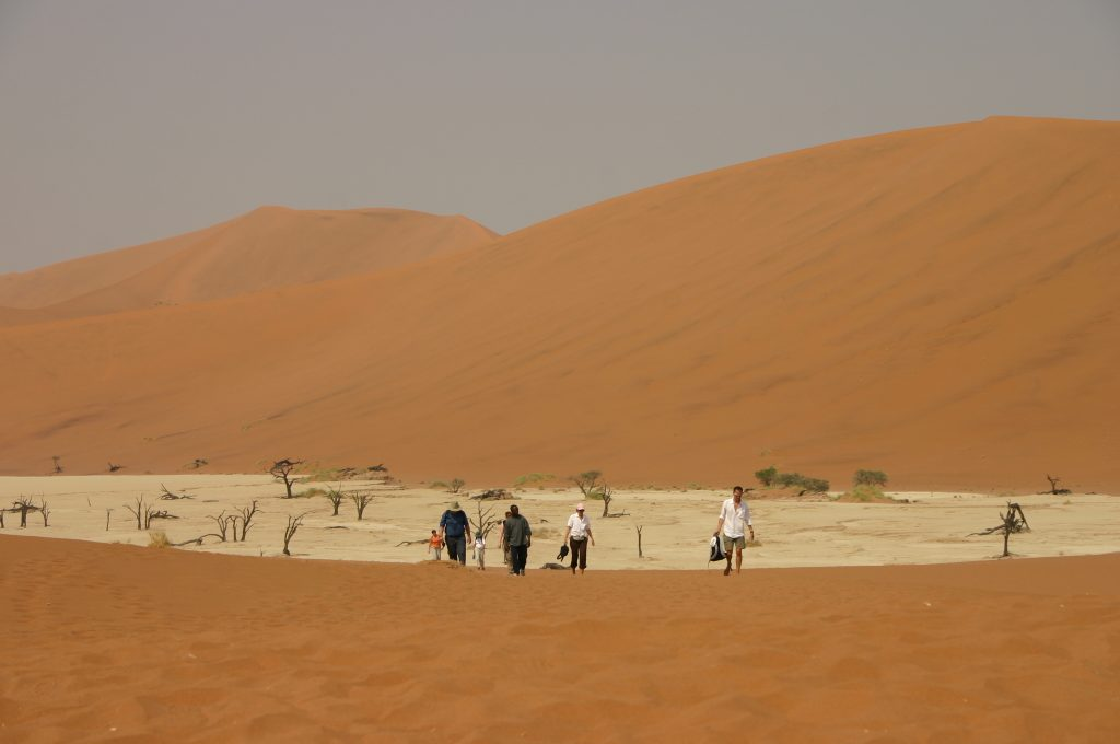 Walking in Namib Desert